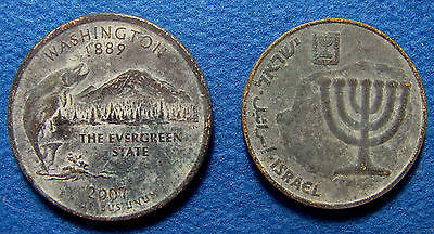 2 Modern Coins found together in Israel 10 prutot Menorah and Quarter USA Dollar