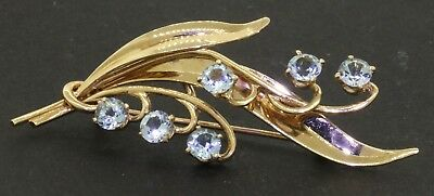 Vintage 14K gold beautiful 2.0CT aquamarine floral brooch