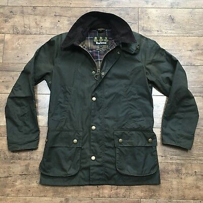 Men's Barbour Ashby Dark Olive Waxed Jacket Size Small
