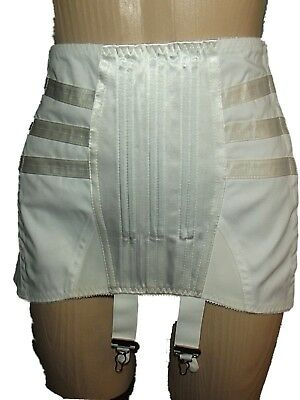 Vtg Retro Excelsior Satin Panel Boned Ob Corselette Girdle 4 Suspenders Sz 33