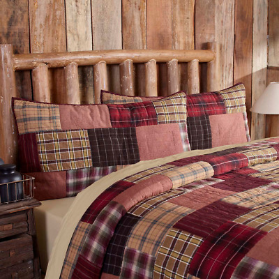 Wyatt Quilted King Sham : Country Cabin Lodge Red Black Plaid Lux Pillow Cover