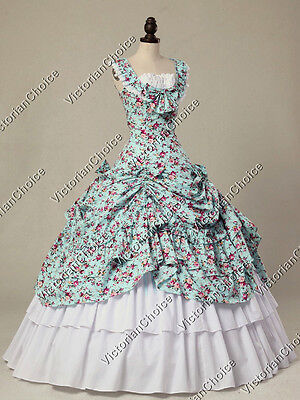 Victorian Southern Belle Dress Floral Day Gown Theater Reenactment Wear N 081 L