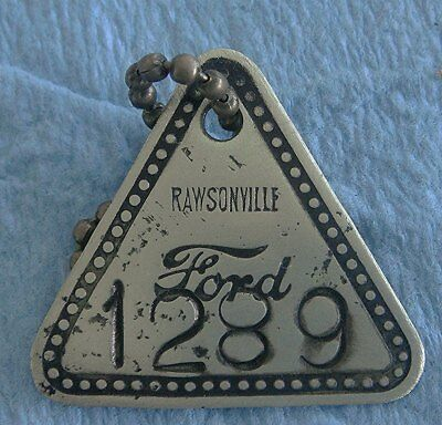 """Vintage FORD """"Rawsonville"""" Factory Tool Check Brass Tag - Rarely Seen"""