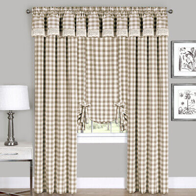 Taupe Checkered Plaid Gingham Kitchen Window Curtain Drapes Panel Valance Shade