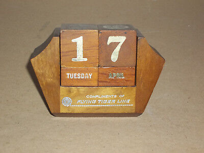 Vintage Wooden Perpetual Calendar Advertising FLYING TIGER LINE made in Taiwan