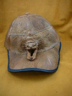 (EL1000-80-3) GENUINE Real Bufo Marinus Cane Toad brown Leather BASEBALL CAP hat