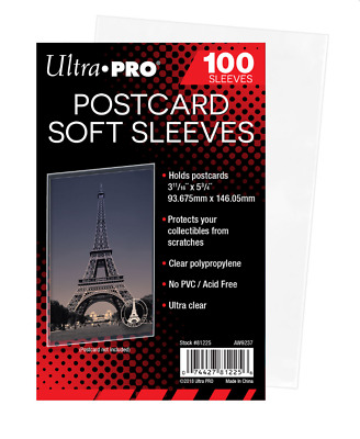 (Pack of 100) Ultra Pro Standard Postcard Sleeves Archival Quality No PVC 81225