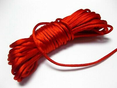 50 Meters Red Chinese Satin Silk Knot Cord 3mm RATTAIL Thread Rope Necklace
