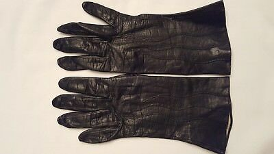 Ladies Retro Thin Leather Black Driving Gloves Stamped