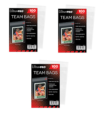 (300 / 3 Packs) Ultra Pro Team Set Bags Resealable Strip Trading Card Storage