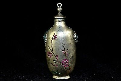 Vintage Collectible Old Tibet Silver handwork chinese flower Snuff Bottle