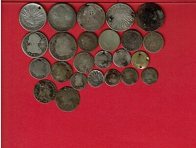 Colonial Spain Mexico Bolivia Peru Chile Lot (22) Silver Holed/damaged/worn +??