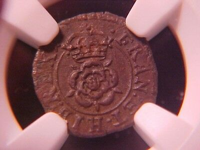 England Farthing Charles I 1636-44 Au-55 Bn Ngc Finest Graded S-3203