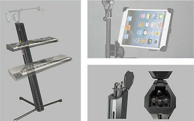 SK102KIT Keyboard Piano Synth Dual Tier Adjustable Stand + iPad and Mic holder