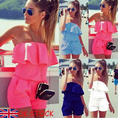 Womens Holiday Casual Off Shoulder Mini Playsuit Jumpsuit Beach Romper Shorts