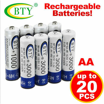 4-20pcs BTY AA Rechargeable Battery Recharge Batteries Ni-MH 1.2V 3000mAh