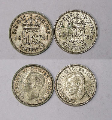 1939 41 Gb Silver 6 P 50% 2.8 Gr Lot 2 Coins Inv#330-63