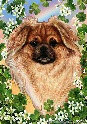 Large Indoor/Outdoor Clover Flag - Sable Tibetan Spaniel 31477