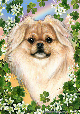 Large Indoor/Outdoor Clover Flag - Cream Tibetan Spaniel 31475