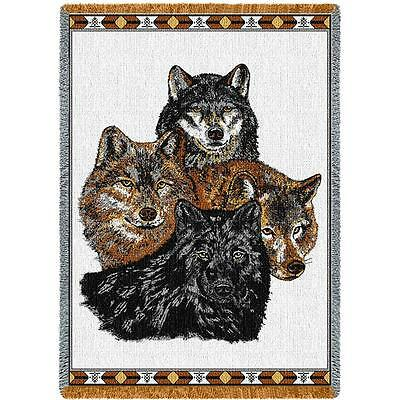Throw Tapestry Afghan - Four Wolves 239