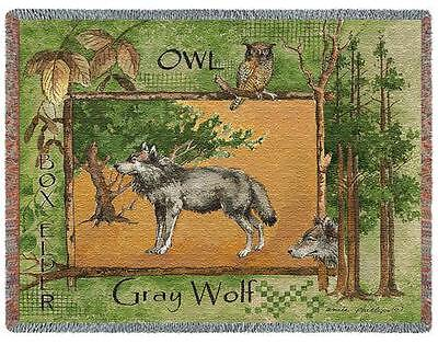 Throw Tapestry Afghan - Gray Wolf 2317