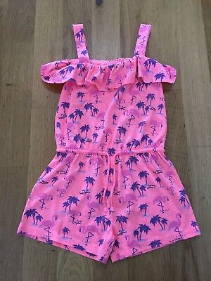 Girls Mothercare Bright Pink/coral flamingo Playsuit 4 Gears, Worn Twice