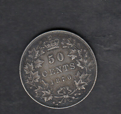 1870 Lcw Canada Silver 50 Cents