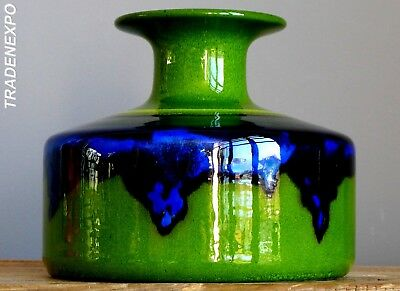Vintage 70's RENEE NEUE for HUTSCHENREUTHER Green Vase West German Fat Lava Era