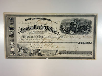 Sacramento, CA. Seat of Government, State Controller's Office 1880 Warrant. $155
