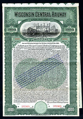 Wisconsin Central Railway Co 1909 Specimen Bond $1000 4% Gold Coupon Bond VF ABN