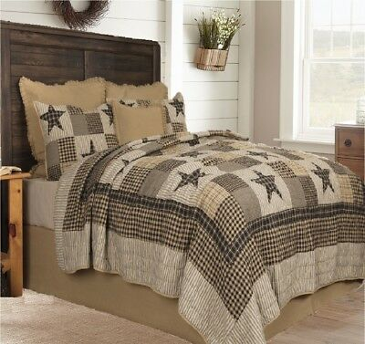 WOODLAND STAR Full Queen QUILT SET COUNTRY CABIN PRIMITIVE 5 POINT BLUE BROWN