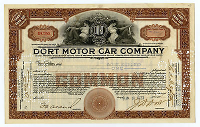 Dort Motor Car Co., 1922 I/C Stock Certificate, I/C Pin-Punch Cancelled Fine ABN