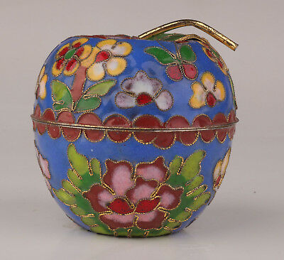 Cloisonne Jewelry Box Old Handmade Apple Shape Handicraft Collection