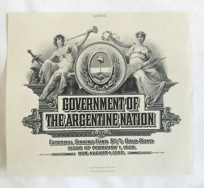 """ABN Proof Vignette """"Govern. of the Argentine Nation"""" 1920s India Paper Unc ABNC"""