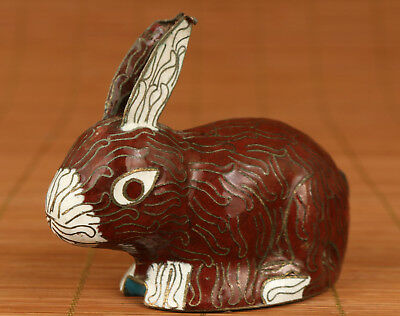 Chinese Old Cloisonne Handmade Carved Lovely Rabbit Figure Statue Gift