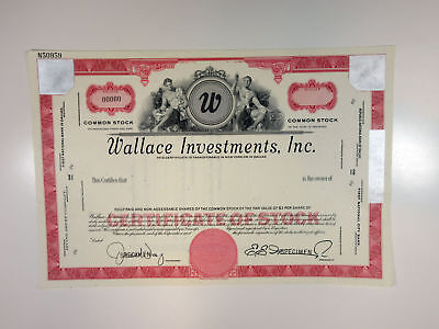 Wallace Investments, Inc. 1950-60s Specimen Stock Certificate XF ABN