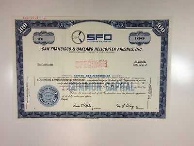CA. SFO Helicopter Airlines, Inc 1961 Specimen Stock Certificate 100 Shr XF ABN