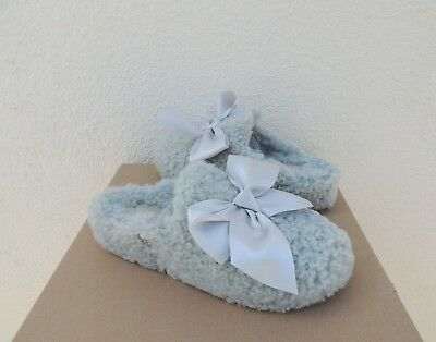 ee22b630eef UGG ADDISON GREY Violet Curly Sheepskin Silky Bow Slippers, Us 6 ...