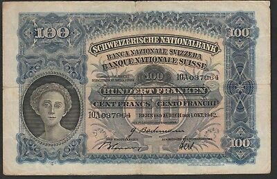 100 Francs From Switzerland 1942