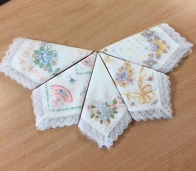 12 Ladies Printed Cotton Handkerchiefs With A Lace Edge