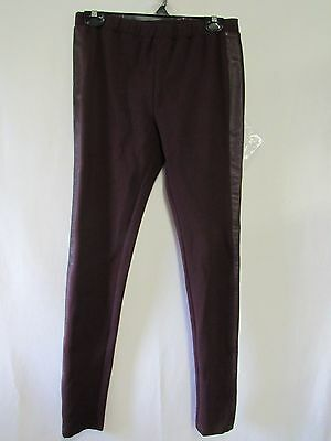 8bcacd13efc56 H by Halston Ponte Pull-On Leggings with Leather Tuxedo Stripe A262980 XS