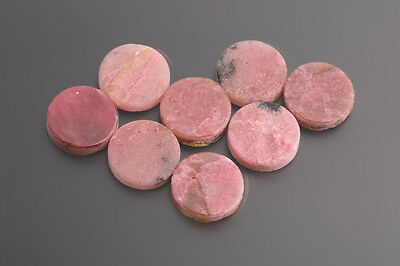 Rhodonite PLATES ROUND 15 mm Pink-Black/Box