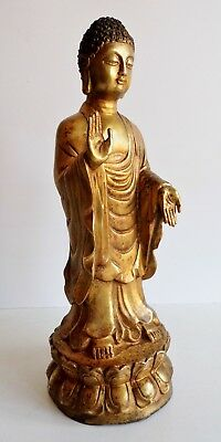 Magnificent Old Chinese Gilt Bronze Buddha Statue - Fine Example - Very Rare