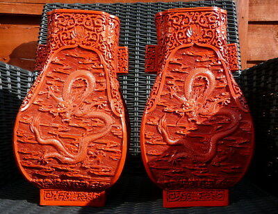 Vintage / Antique Chinese Pair of 20th Century  Cinnabar Vases