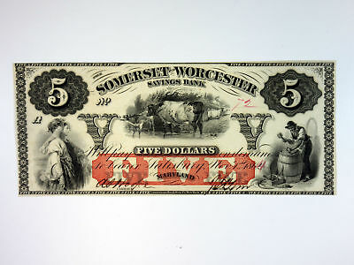 MD. Somerset and Worcester Savings Bank 1864 $5 I/U Obsolete Banknote Unc/CU ABN