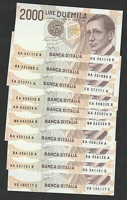 10 Pcs Of 2000 Lire From Italy Unc