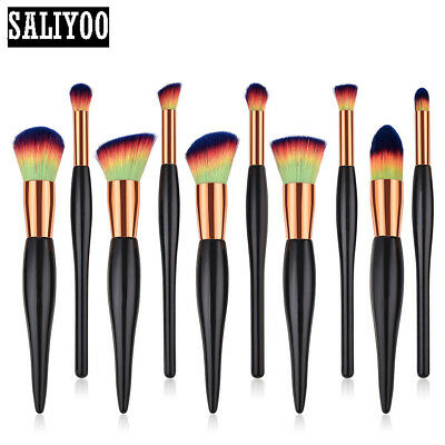 10PCS Cosmetic Makeup Brushes Foundation Eyeshadow Lip Powder Blush Starter  Set