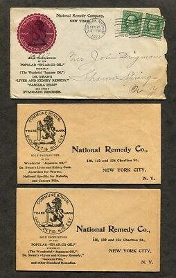 3 Antique Covers National Remedy Co Dr Swan's Liver Cure Quack Medicine c1910