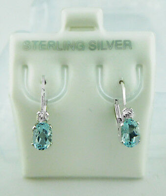 GENUINE 1.14 Cts BLUE TOPAZ EARRINGS .925 Sterling Silver * Brand New With Tag *