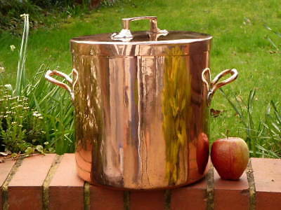 EARLY 19th century COPPER KITCHEN STOCK POT & COVER with DOVETAILED SEAMS